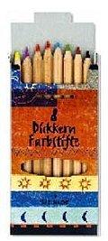 Natur-Holzstifte, Dickkern - 8 Farben in Pappetui, 10 mm Durchmesser