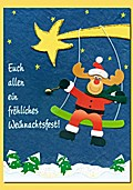Weihnachtskarte - Schaukel Elch (Handmade) - Verpackungseinheit: 3 Stück